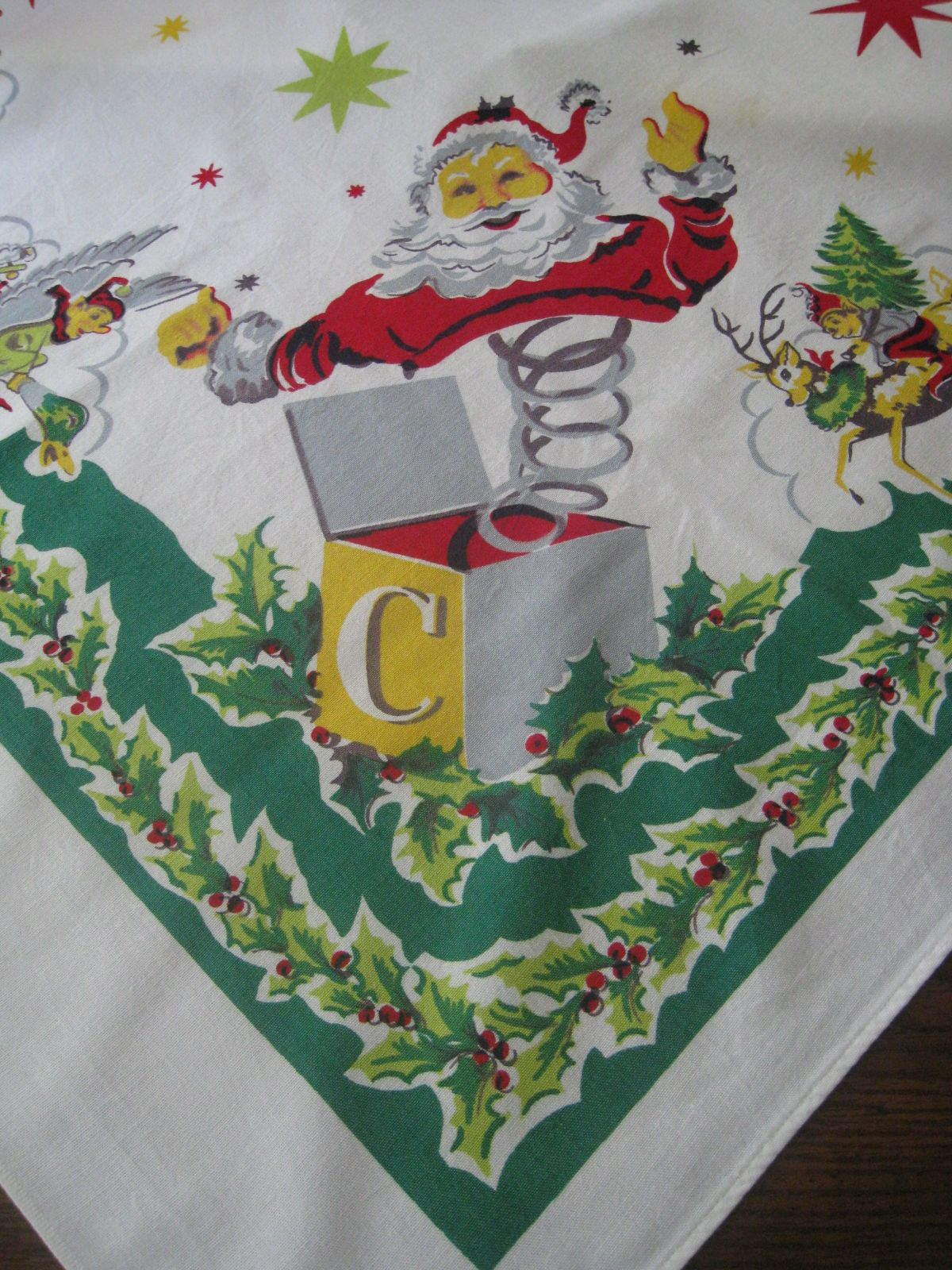 Vintage Christmas Tablecloth Santa Jack In The Box | Christmas ...