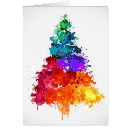 Christmas Tree Paint Primary Colors Holiday Card Zazzle Com