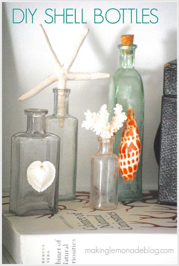 simple decorating with diy shell bottles - Diy Beach Decor