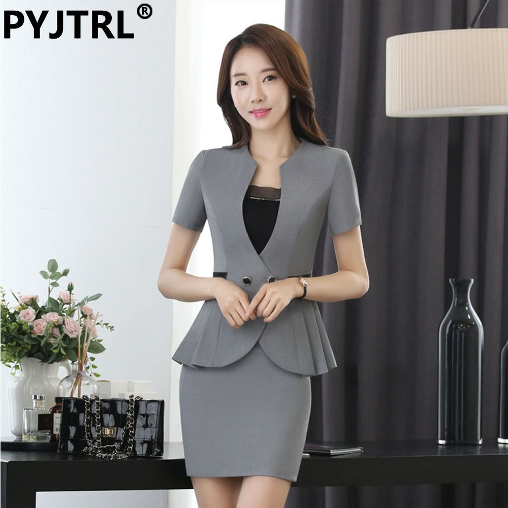af31d0ff6a4d4 Commute Fashion Womens Business Office Uniforms Gray Black Skirt ...