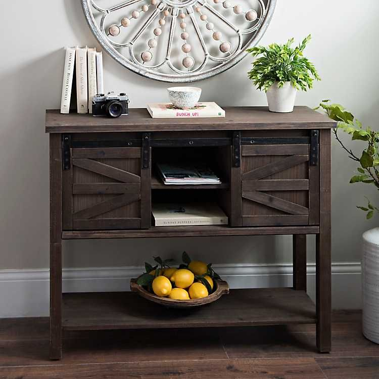 Sliding Barn Door Brown Console Table