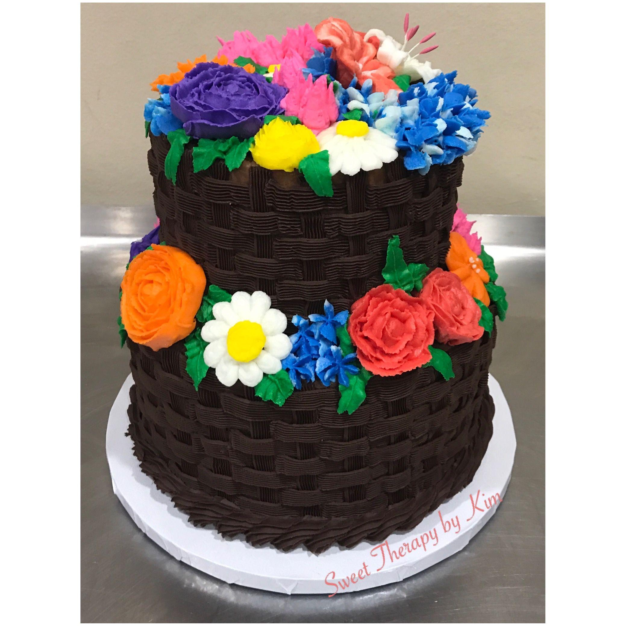 Basket weave floral cake floral cake cake birthday cake