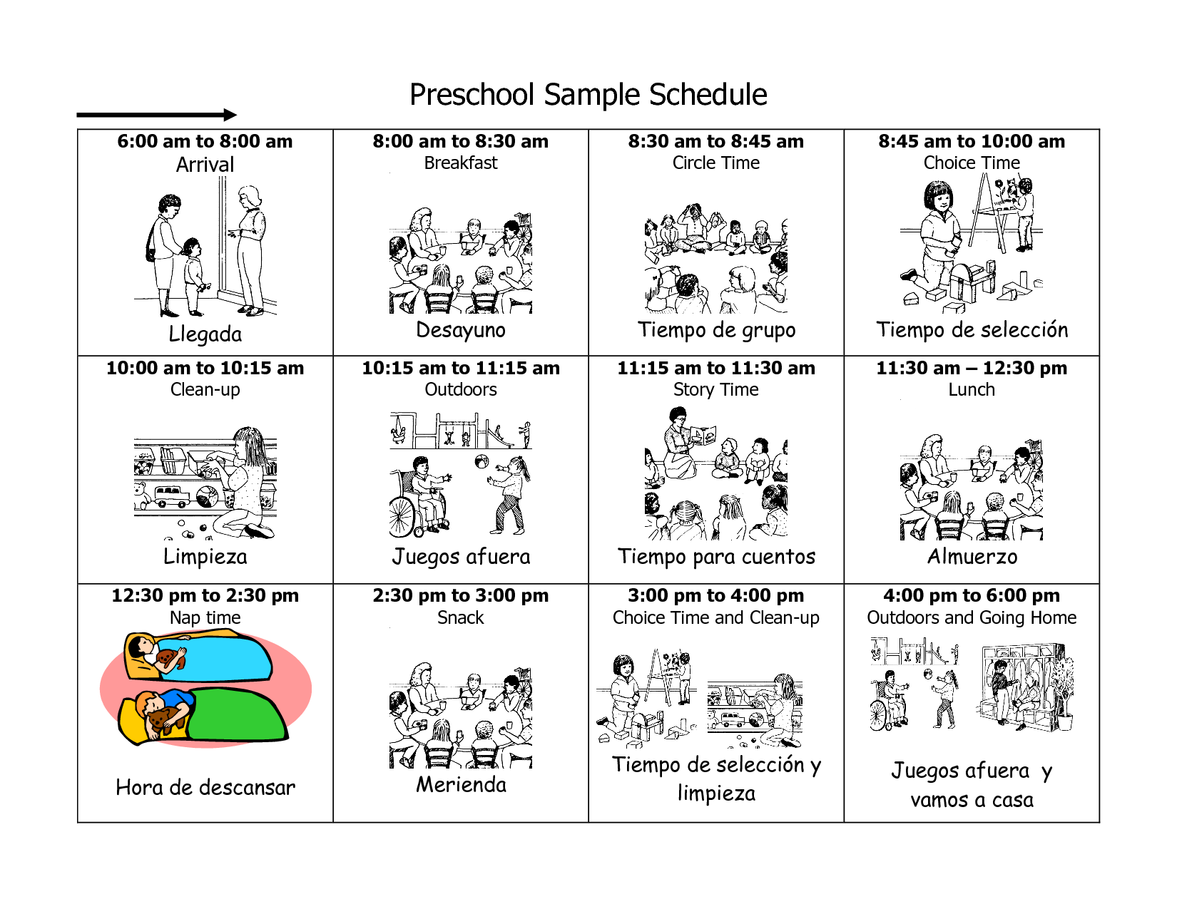 Daycare Schedule in English/Spanish. | Picture Schedules | Pinterest