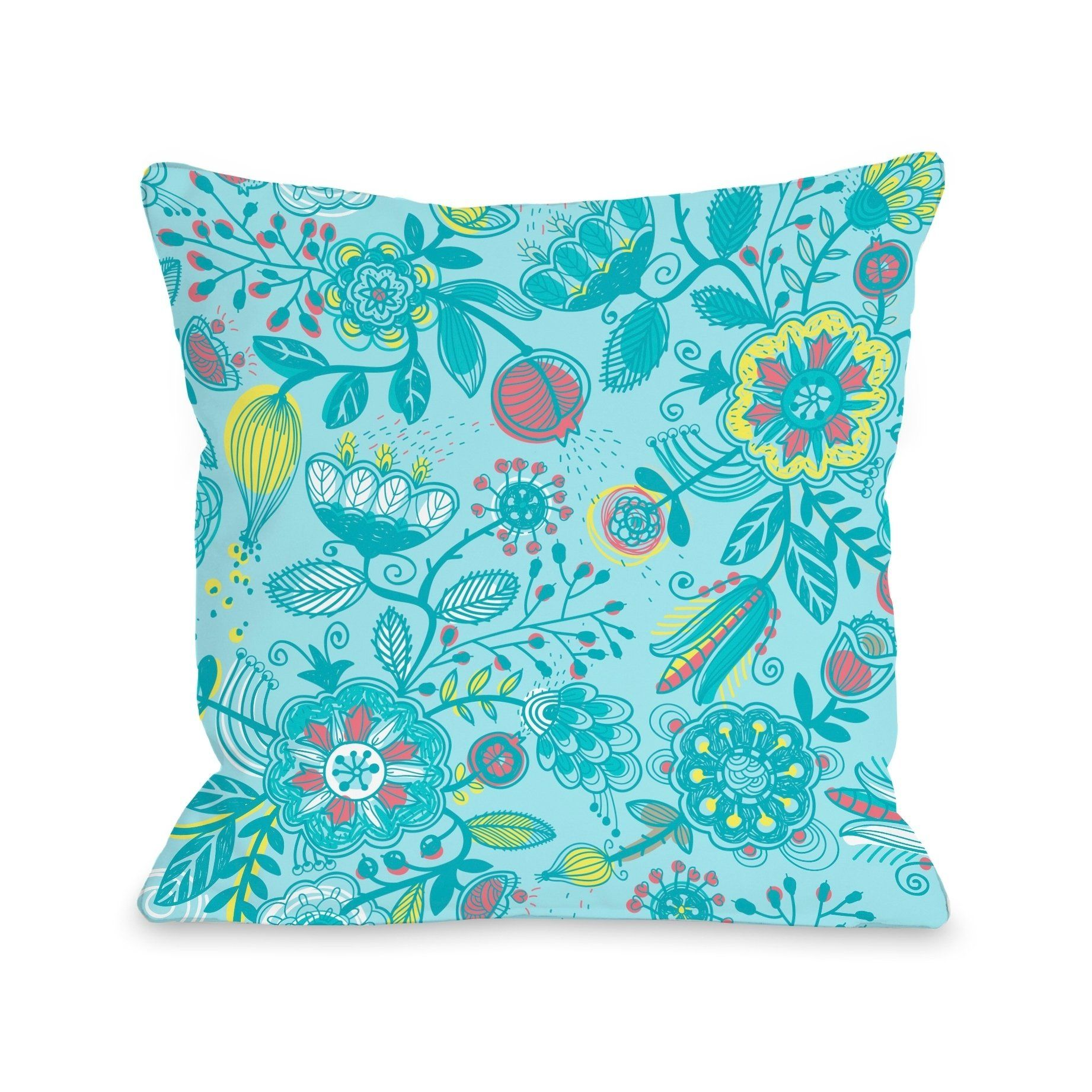 Quirky Florals - Blue Multi Pillow by OBC