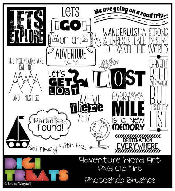 Adventure Word Art PNG Clip Photoshop Brush Set By DigiTreats