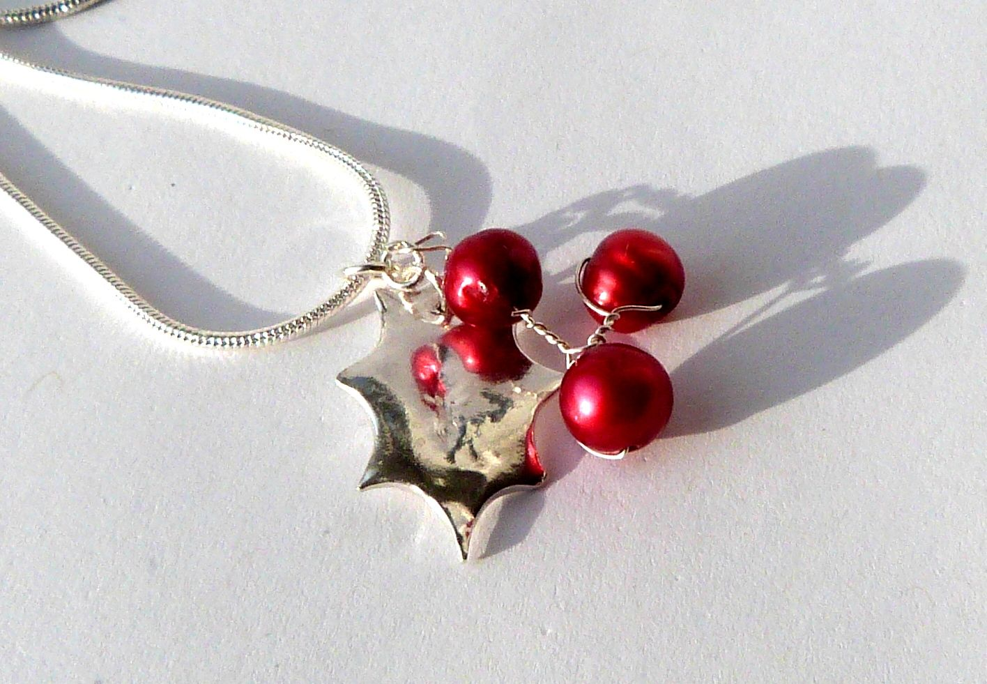Holly Berry pendant freshwater pearls