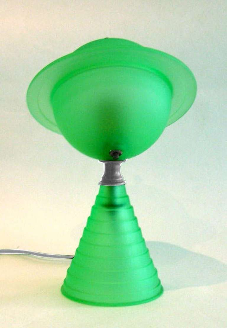 Rare Original Art Deco Green Glass Saturn Lamp Blade Runner From A Unique Collection Of Antique And Modern Table Lamps At Ht Lamp Vintage Table Lamp Art Deco