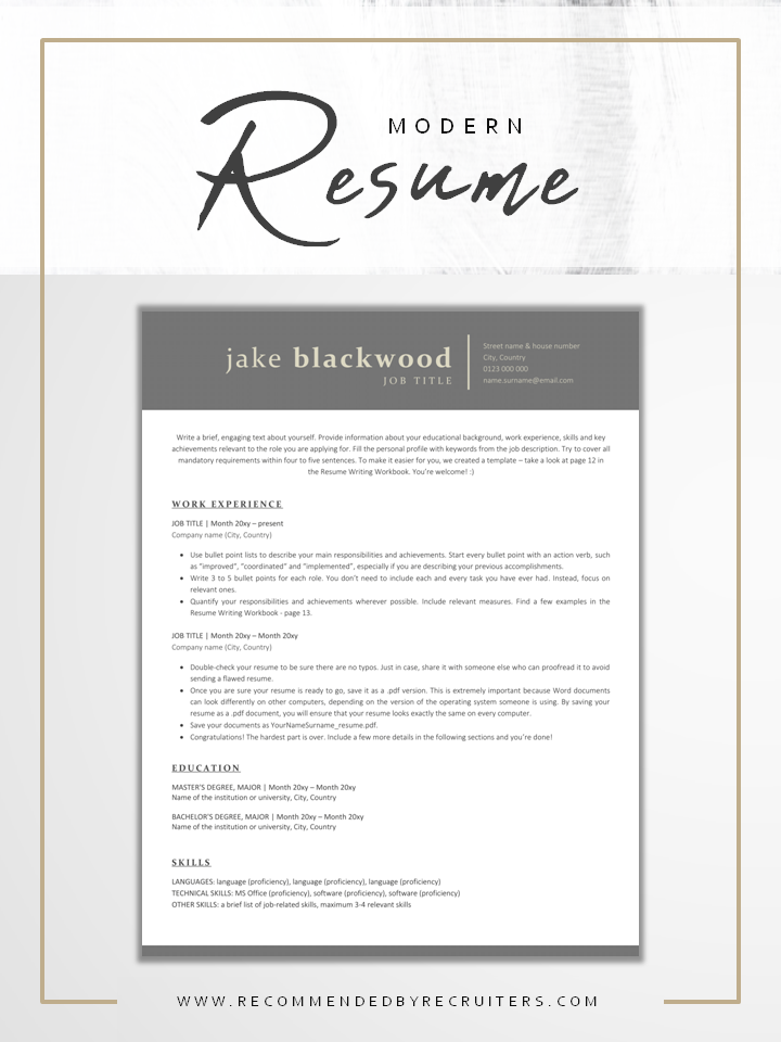 ATS friendly Resume Template and Cover Letter, Instant