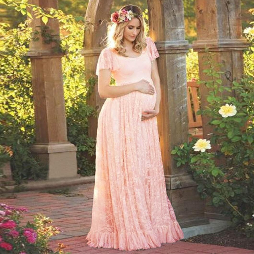 4845fc792f2 Amazon.com  Howstar Women s Long Maternity Dress Lace Short Sleeve  Photography Pregnant Clothes  Clothing