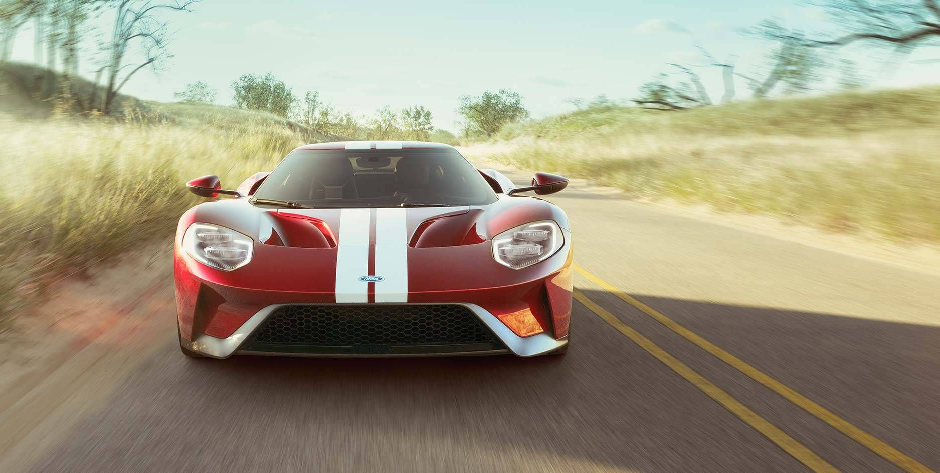 Front View Of Ford Gt On A Highway Ford Gt Ford Sports Cars Ford Sport