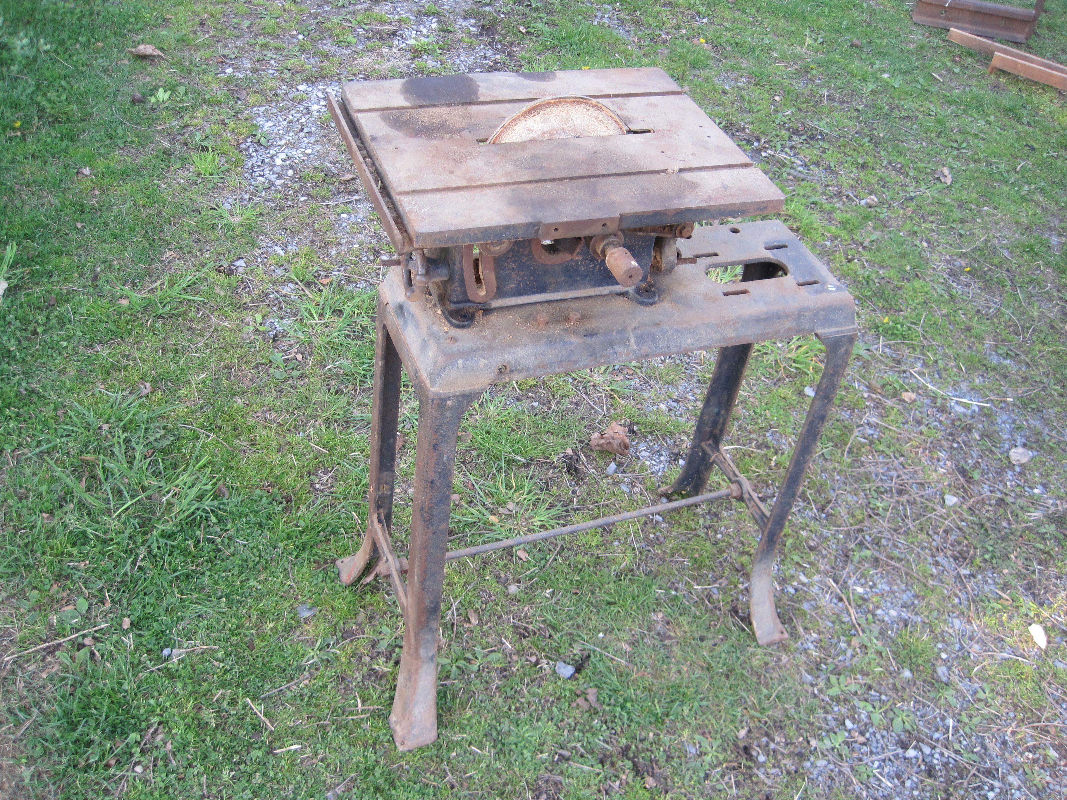 Vintage Small Table Saw On Original Cast Iron Stand, Converted To A Disc  Sander