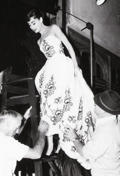 Audrey Hepburn on the set of Sabrina (1954)