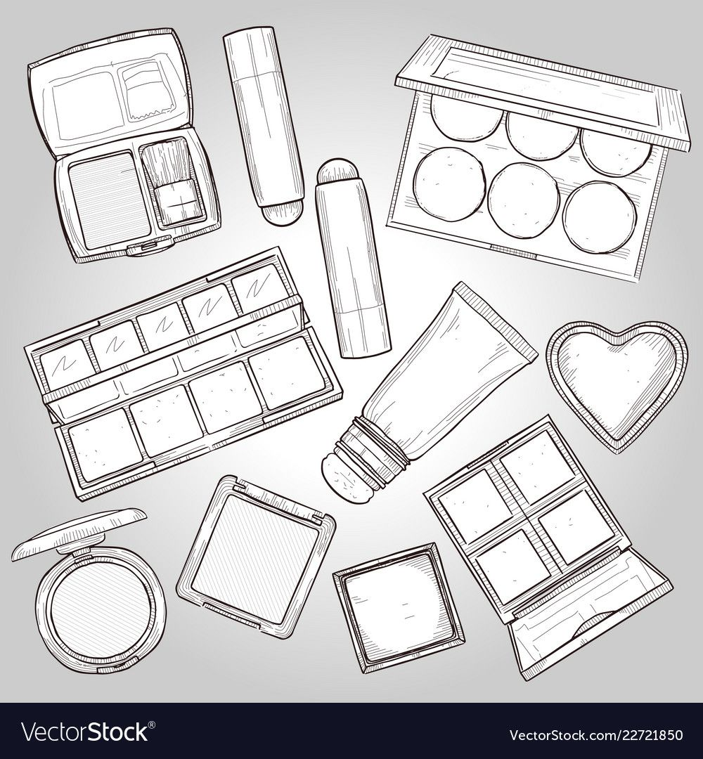 Sketch Set Of Makeup Products Royalty Free Vector Image Spon
