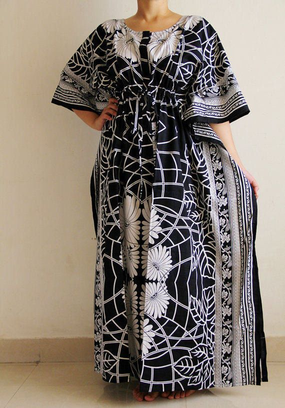 21e97c80b3 Black and white printed caftan, long dress with front zip and scoop neck,  ideal for maternity, nursing, special needs and plus sizes.