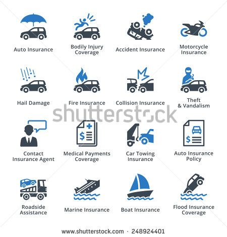 Auto Insurance Icons - Blue Series