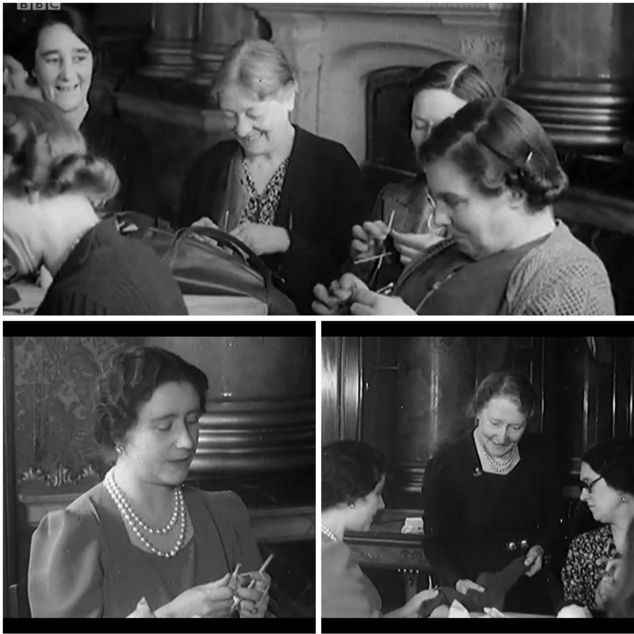 During WW2, Queen Elizabeth, (the mother of the current Queen, Elizabeth II) hosted weekly knitting sessions in the Blue Salon of Buckingham Palace. A hundred ladies would gather to make comforts for the troops and the cold at home.  (Stills courtesy of BBC's The Fabric of Britain)