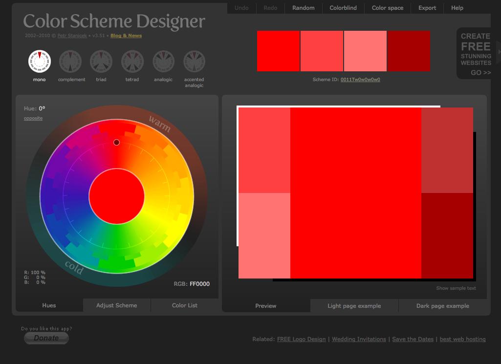 colorschemedesigner.com - Great online color picker. Looking for the ...