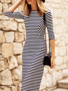 White Black Half Sleeve Striped Dress -SheIn(Sheinside)