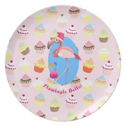Flamingo Christmas Plastic Plate Cocktails Cupcake - girly gift gifts ideas cyo diy special unique  sc 1 st  Pinterest & Flamingo Christmas Plastic Plate Cocktails Cupcake - girly gift ...