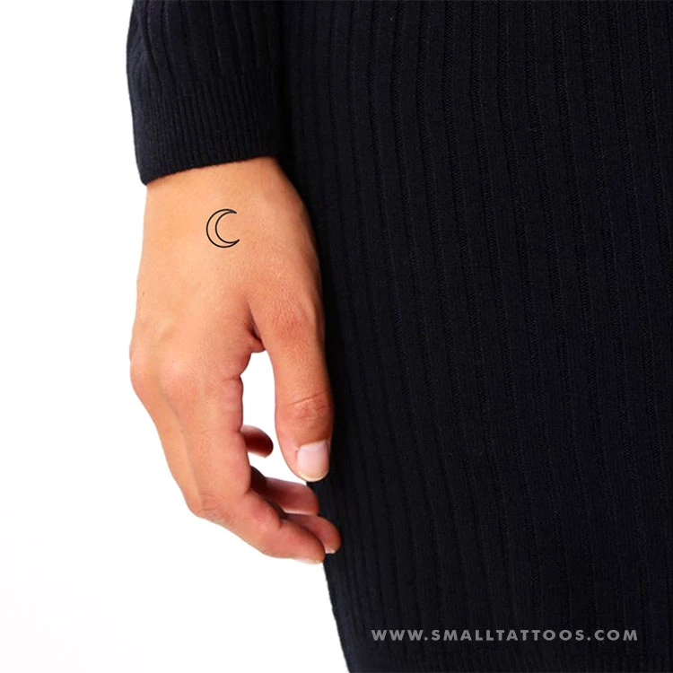 Crescent Moon Outline Temporary Tattoo (Set of 3) Small