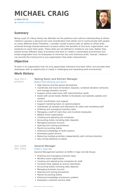 Resume Examples Kitchen Manager