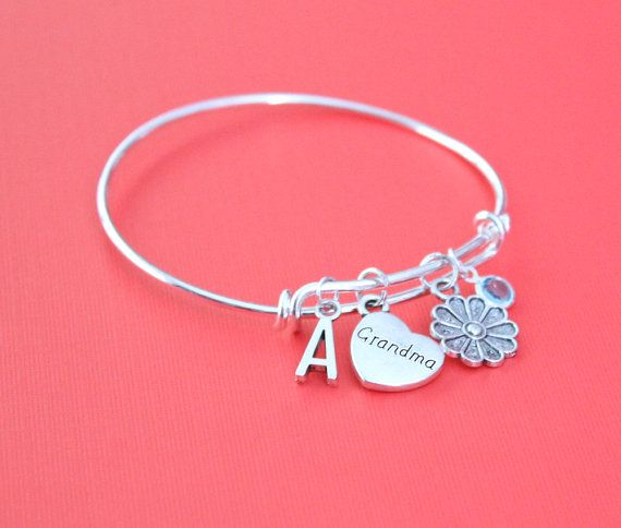 Personalized Grandma Bracelet Adjustable with your Initial & Birthstone