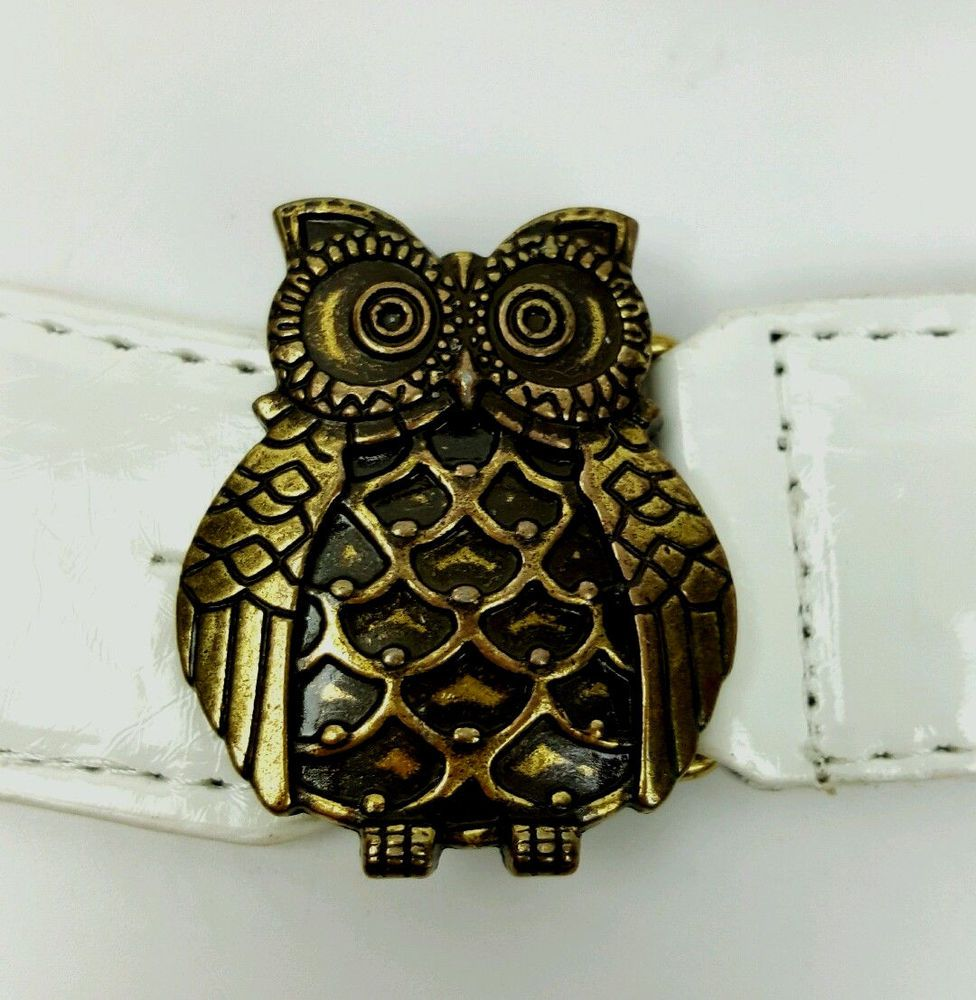 Betsey Johnson belt M/L natural beige and white patent owl buckle stretch cinch  #BetseyJohnson #Cinch