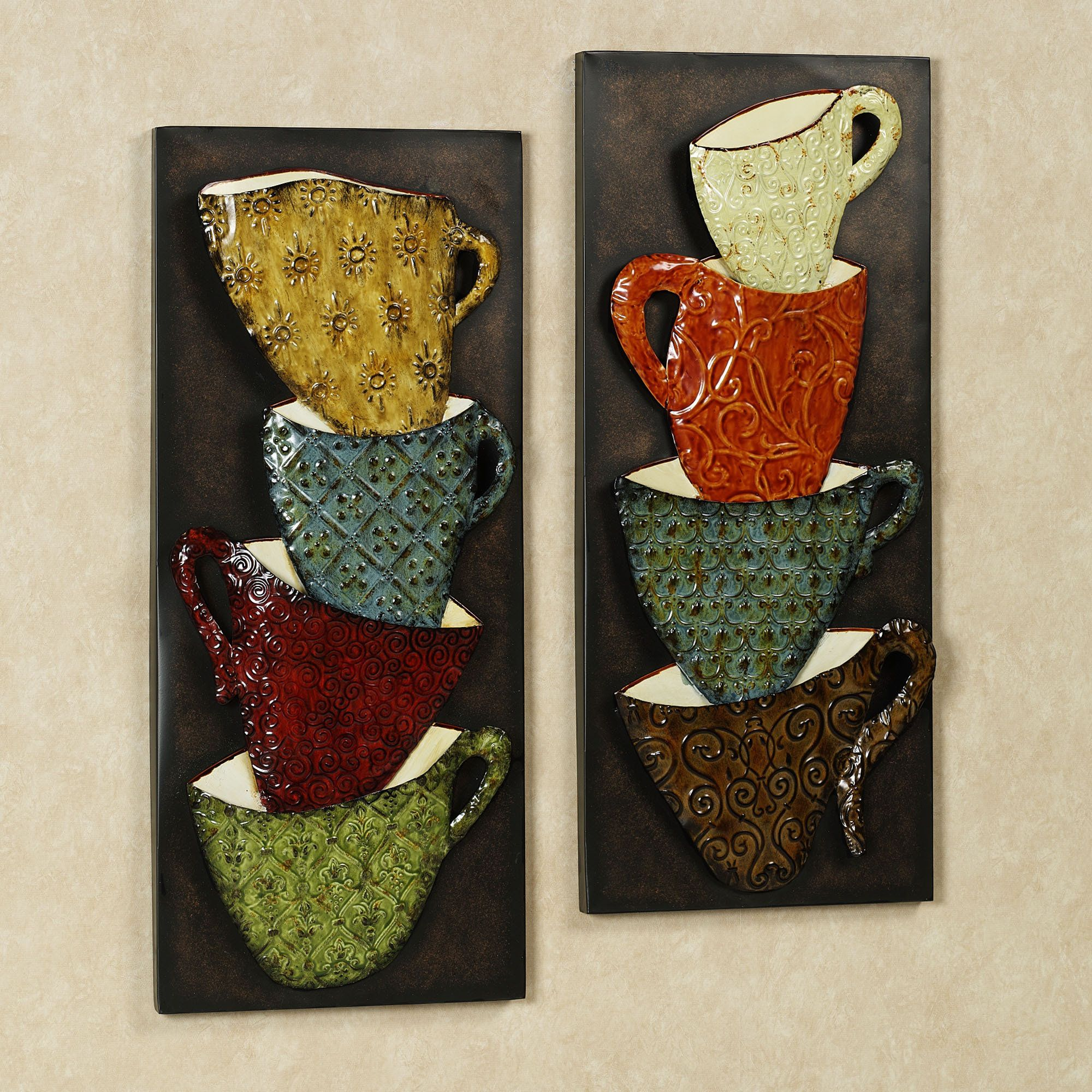 Wall Art Idea   Java Mugs Metal Wall Panel Set