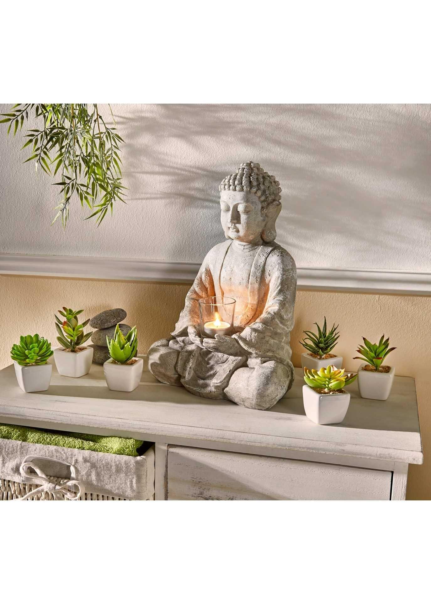 Deko Figur Buddha Mit Teelichthalter Buddha Deko Buddha Windlicht