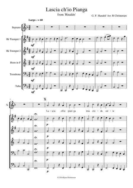 Lascia Ch Io Pianga Digital Sheet Music Sheet Music Music