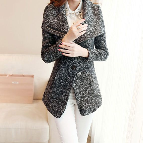 Price:$44.99 Color: Gray Material: Worsted Elegant Lapel Slant Zip Pure Color Worsted Coat