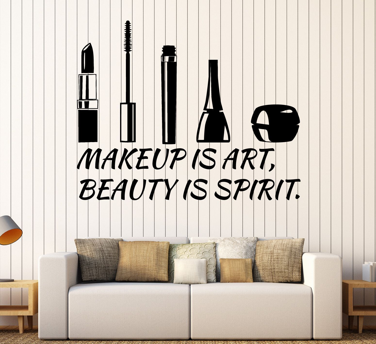 vinyl wall decal beauty salon quote cosmetics makeup on wall stickers id=13022