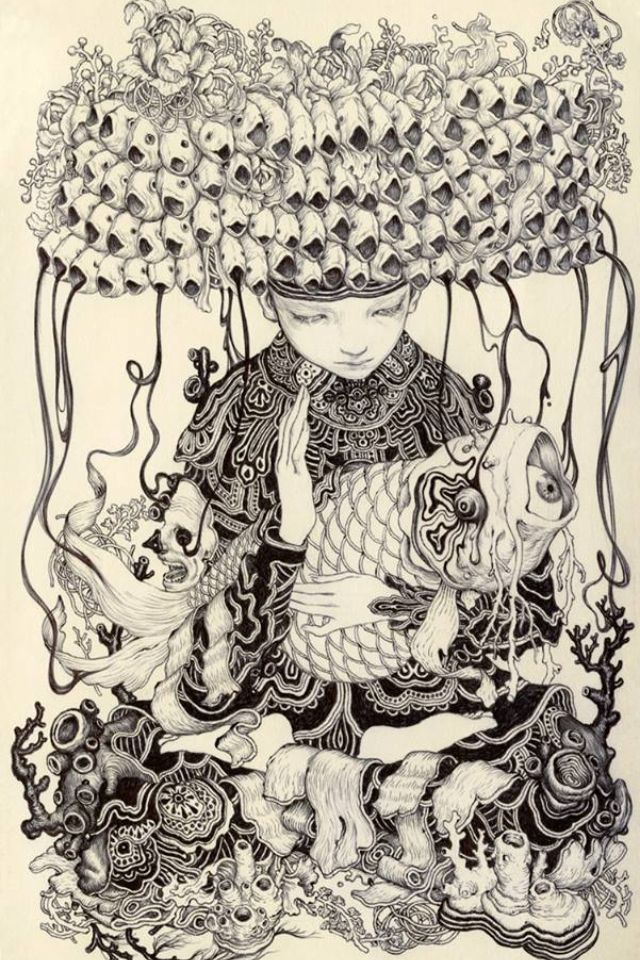 James Jean  Pescados ink on paper 5x8 2013
