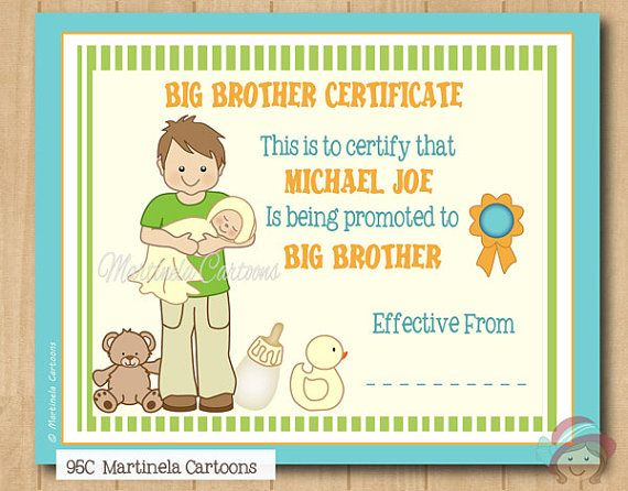 Personalized Big Brother Certificate Being By Martinelacartoons Big Brother Gift Big Brother Big Brother Little Sister