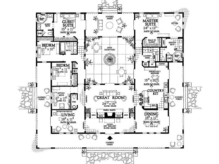 Amazing Floor Plan Love The Huge Porch And Square Footprint Mediterranean Style House Plans Ranch Style House Plans Courtyard House Plans