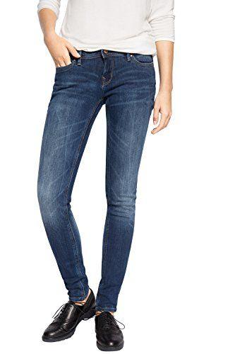 edc by ESPRIT Damen Skinny Jeanshose figurformend, Gr. W25/L32, Blau (