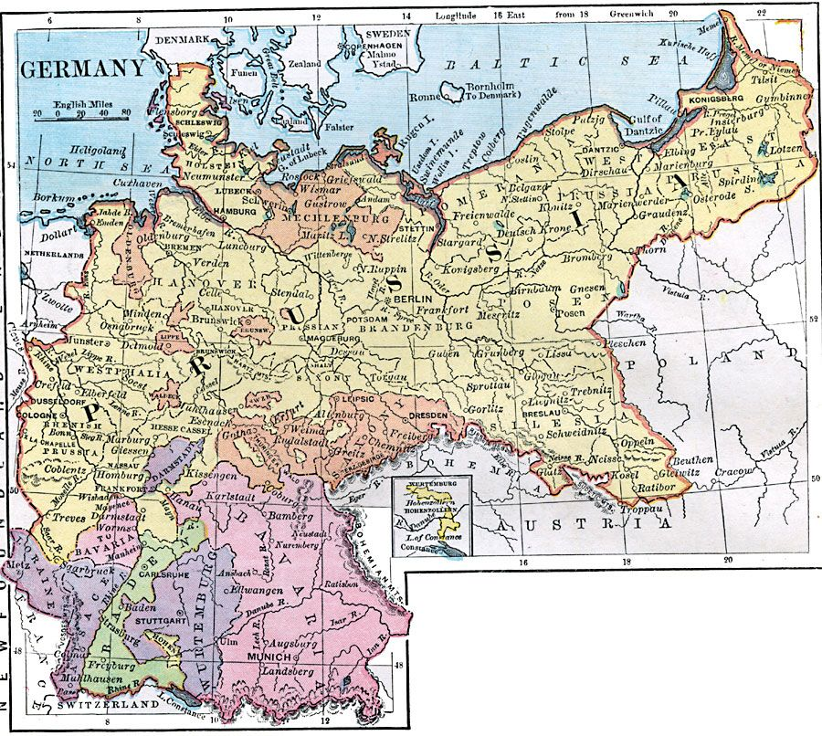 Germany Shows Extent Of Prussia Map Germany Deutschland - Germany map in english