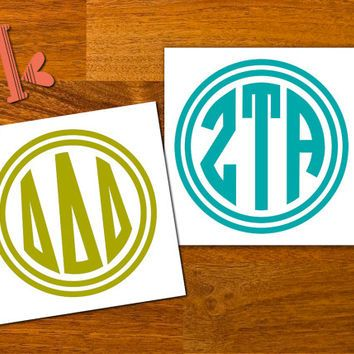 Any greek letters monogram decal sticker circle monogram greek sorority decal custom greek