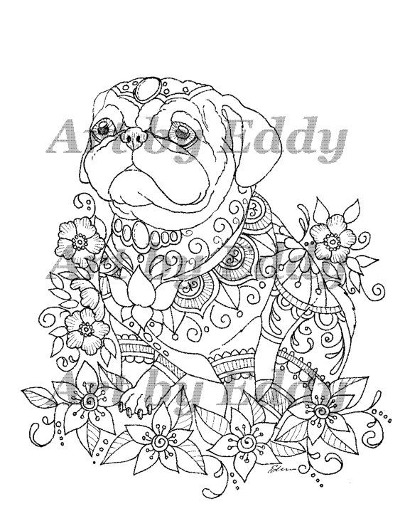 Art Of Pug Coloring Book Volume No 1 Physical Book By Artbyeddy