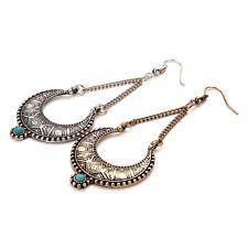 Blue Turquoise Dangle Drop Moon earrings Jewelry 18K Gold Filled statement