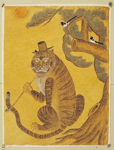 tiger top hat art korean painting korean art tiger art