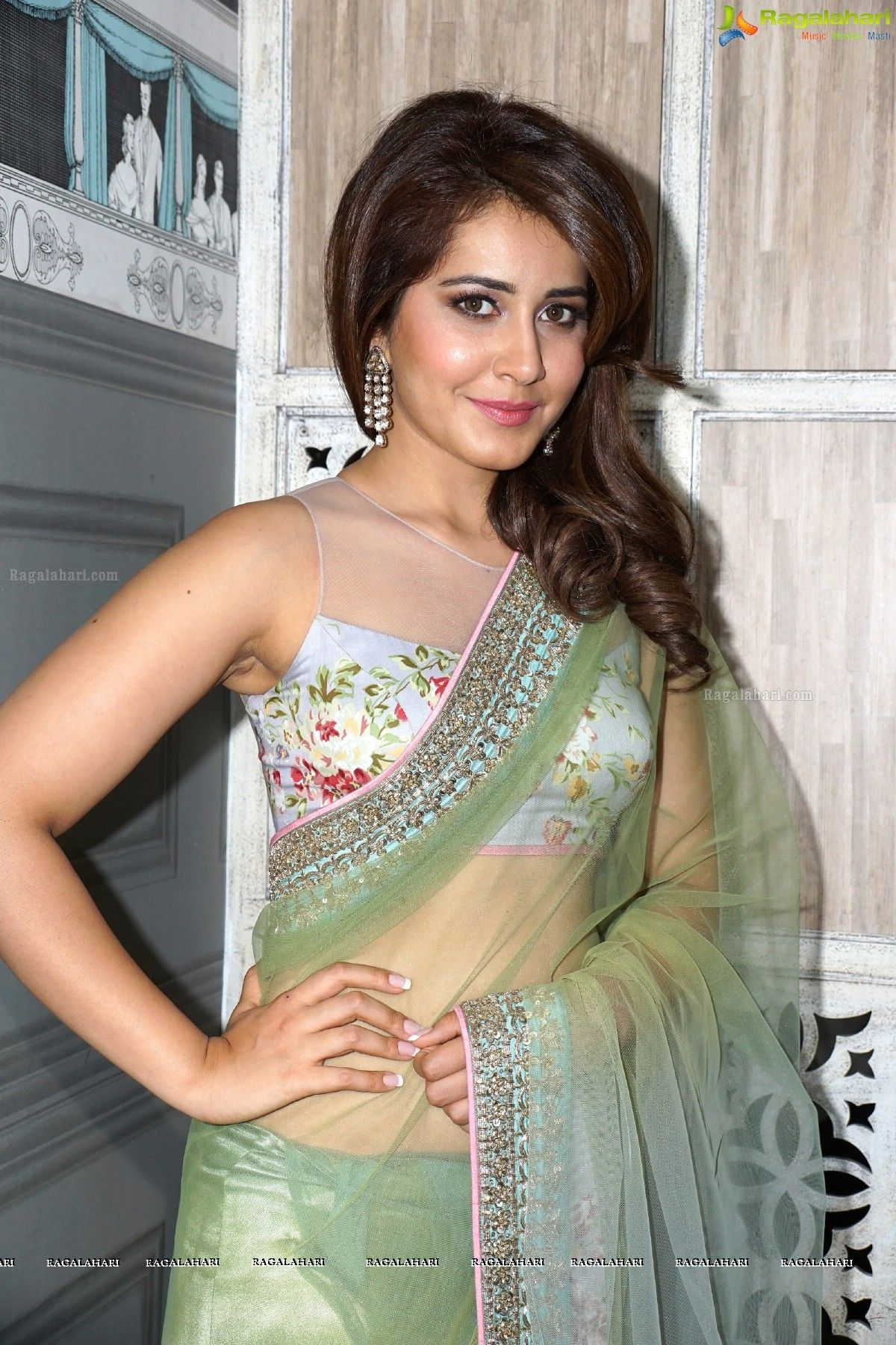 ba3d3db914b1ef Rashi Khanna Hot In Low Hip Transparent Saree & Sleeveless blouse ...