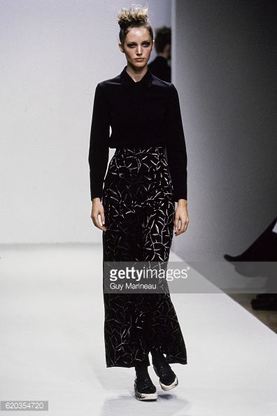 Model walks Prada's Spring 1997 RTW (pret a porter) collection. (Photo by Guy Marineau/Condé Nast via Getty Images)  Cecilia Chancellor