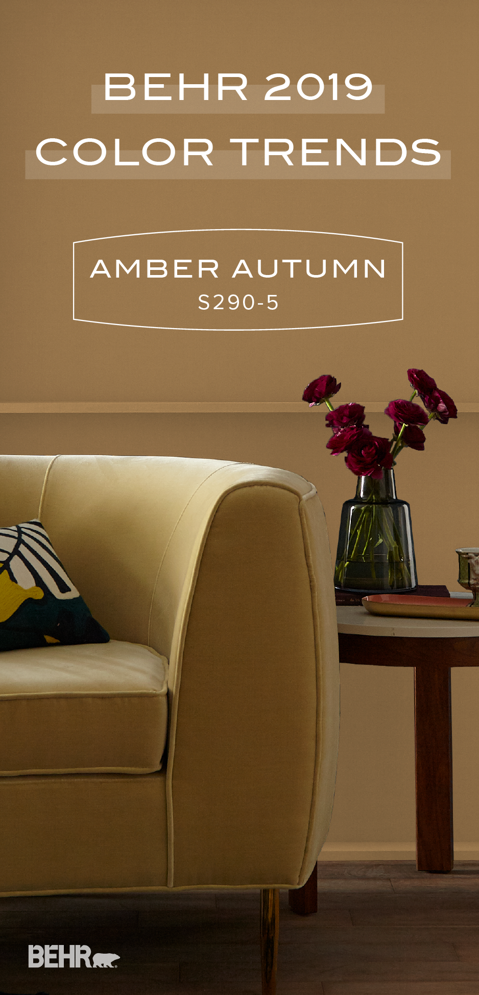 this fall  sink into the warm and cozy hue of amber autumn by behr paint  as part of the 2019