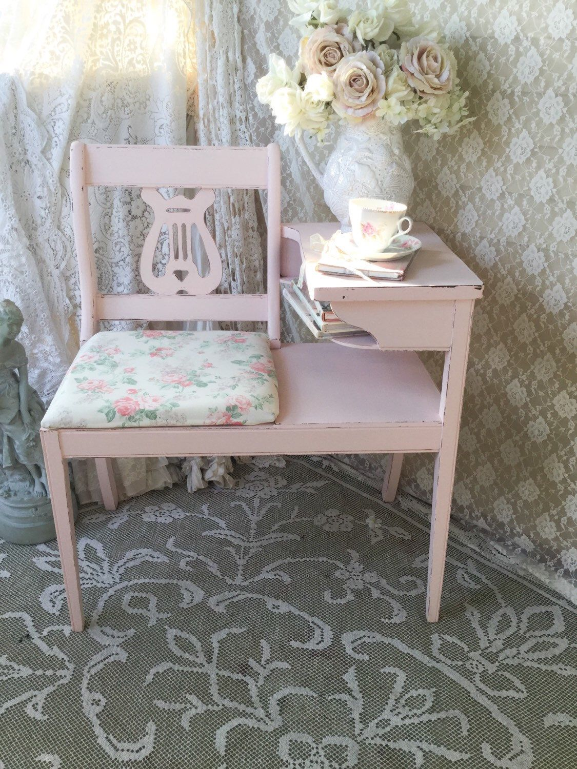 A personal favorite from my Etsy shop https://www.etsy.com/listing/246454900/shabby-gossip-benchtelephone-standlyre