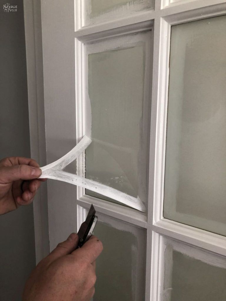 How To Paint French Doors The Easy Way In 2020 Painted Window Panes French Doors Painting Cabinet Doors