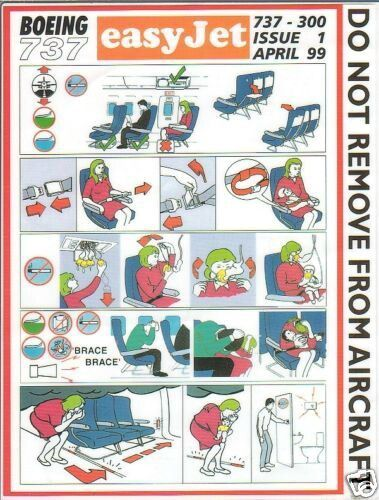 safety card  easyjet  b737 300  0499  easy jet cards