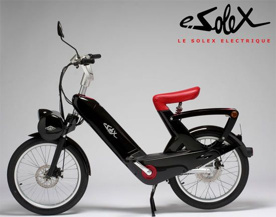 This clever electric update is available from Solex in France with a dramatic redesign by Pininfarina. A rear-mounted 400W hub motor is capable of propelling the bike at up to 20 mph with a range of approximately 25 miles, and they thoughtfully retained the pedals in case you feel like working up an environmentally friendly sweat.