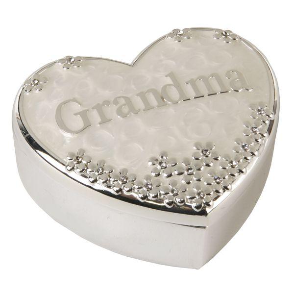 The Grandma Box Grandma Silver Plated Heart Shaped Trinket Box Trinket Boxes Trinket Gifts For Grandparents