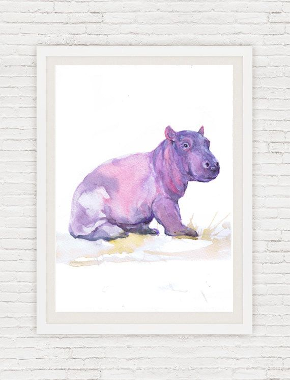 Blue Rhino Abstract Watercolor Painting Rhinoceros Art Print by Artist DJ Rogers